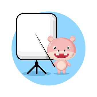 Бегемот становится учителем милый персонаж логотип