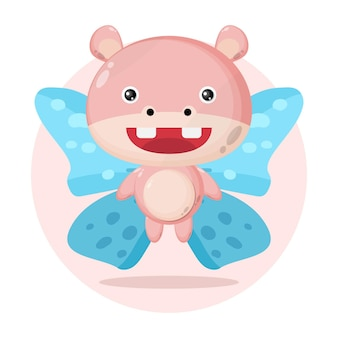 Hippo butterfly cute character