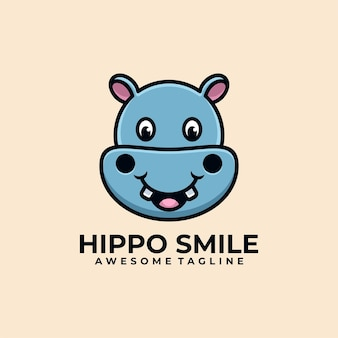 Hippo cartoon illustration logo design