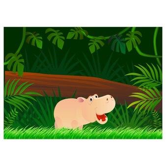 森の背景にカバの漫画