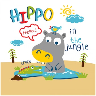 Hippo and crocodile in the jungle funny animal cartoon