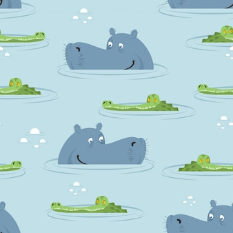 Hippo and crocodile in water seamless pattern. good hippopotamus and alligator