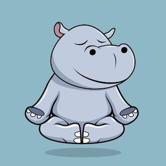 Hippo doing yoga cartoon isolated on blue