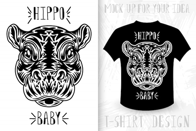Hippo face.  t-shirt print in vintage monochrome style.