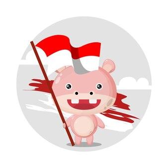 カバの旗かわいいキャラクターのロゴ