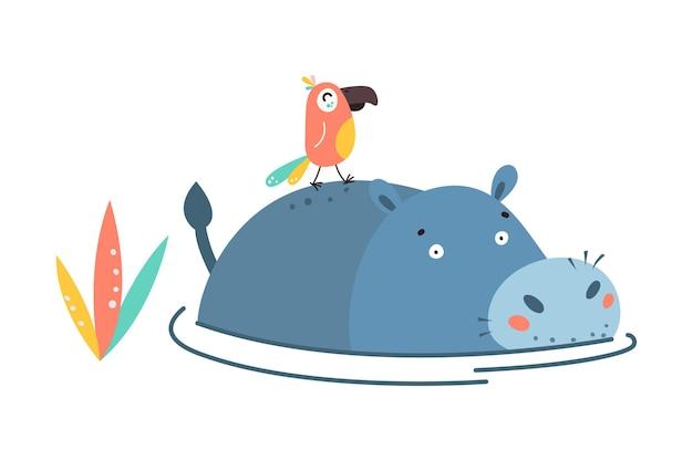 Hippo flat style. wild herbivorous animal. violet hippopotamus cartoon on white.