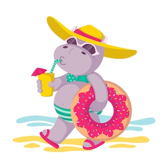 Hippo in a hat and sunglasses, with donut inflatable circle and a drink in hand goes to the beach. summer mood, sea, sun. children illustration isolated on white