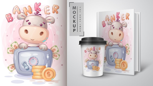 Hippo is saving money poster and merchandising. vector eps 10