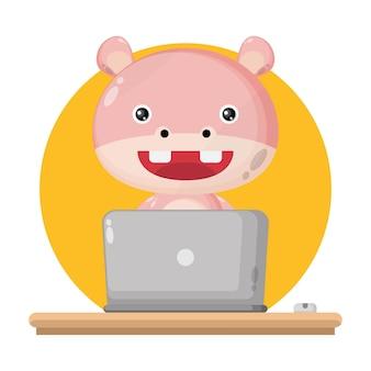カバのラップトップかわいいキャラクターのロゴ