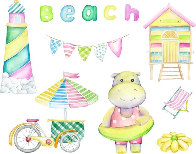 Бегемот, маяк, пляжный домик, зонт. акварельный набор, на изолированном фоне, иллюстрация