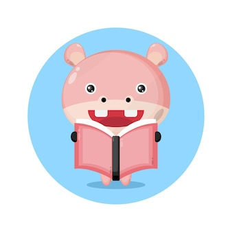 Hippo reading a book cute character logo