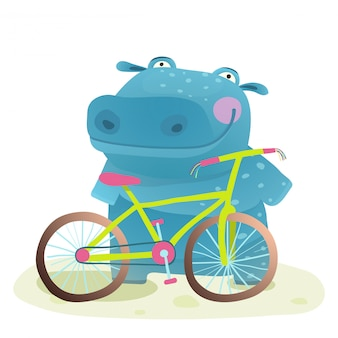 Hippo with bicycle
