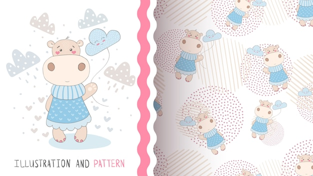 Hippo with cloud seamless pattern