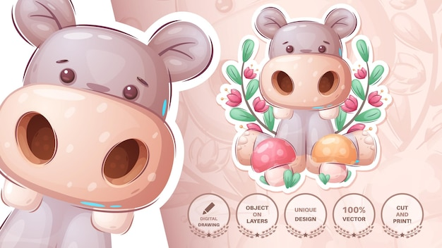 Hippo with mushroom - cute sticker