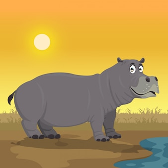 Hippopotamus cartoon in the yard