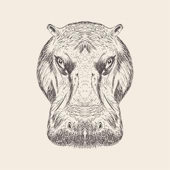 Hippopotamus head illustration in solid design
