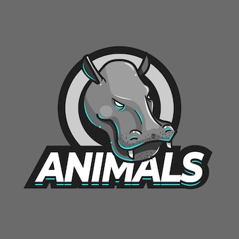 Шаблон логотипа талисмана бегемота