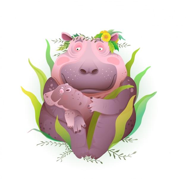 잔디와 꽃, 자연 속에서 그녀의 신생아를 돌보는 하마 어머니는 그녀의 손에 아이를 들고. 아이와 모성 일러스트, 고립 된 클립 아트에 예술적 동물 사랑.