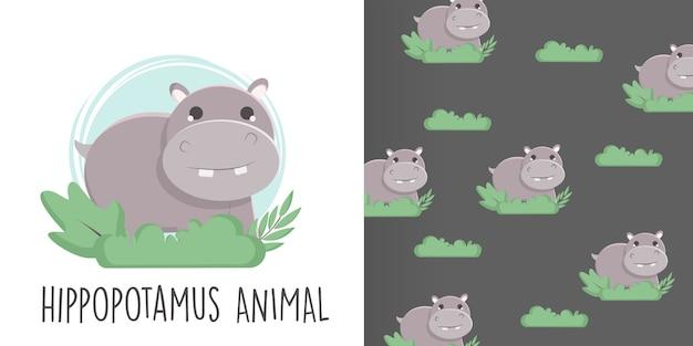 Hippopotamus seamless pattern