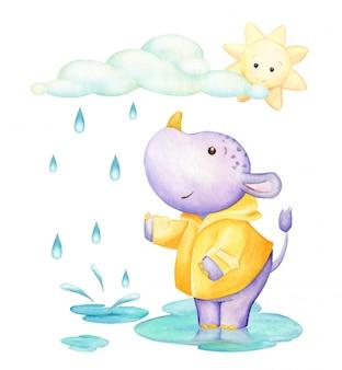カバ、水たまりに立って、雲と太陽の下で。水彩のクリップアート。漫画のスタイルのかわいい熱帯動物。