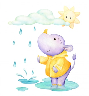 Hippopotamus, standing in a puddle, under the clouds and the sun.watercolor clip art. cute tropical animal, in cartoon style.