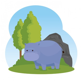Hippopotamus wild animal with trees and bushes