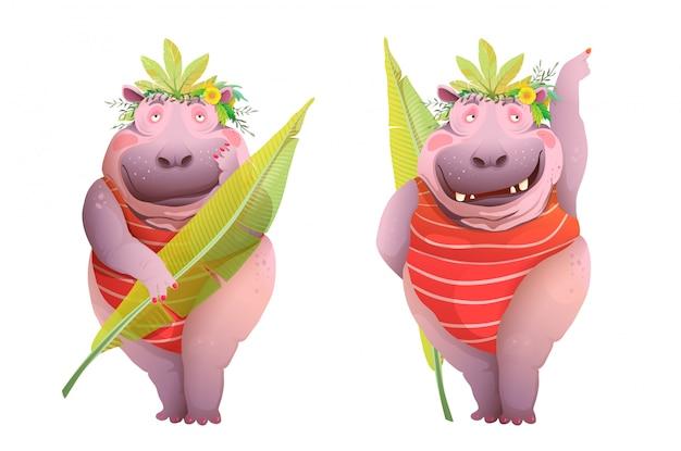 ジャングルでポーズをとるカバの女性は、衣装、面白い、陽気な似顔絵キャラクター漫画を残します。水彩風のデザイン、動物のファンキーなカバボディ肯定的な女王。