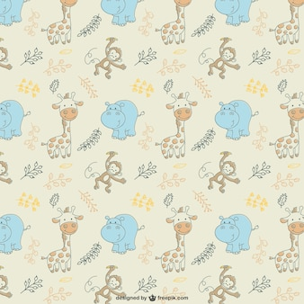Hippos and giraffes pattern