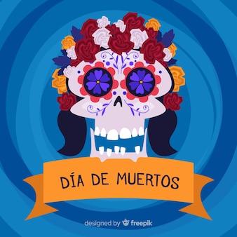 Hippy floral skull for dia de muertos background