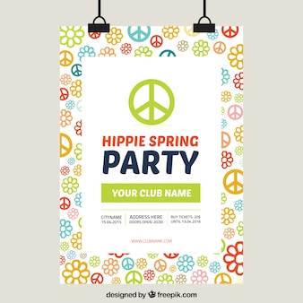 Party poster primavera hippy