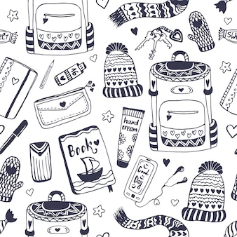 Hipster accessories seamless pattern