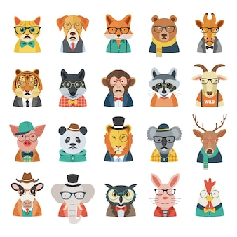 Hipster animal avatar set