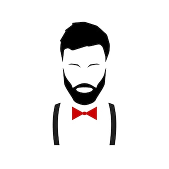 Hipster avatar with a beard in suspenders and a bow tie