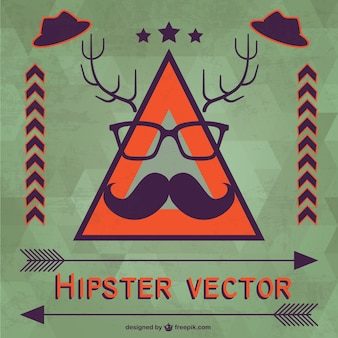 Hipster background with moustache and glasses