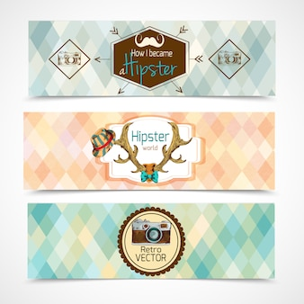 Hipster banners horizontal