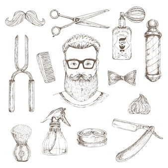 Hipster and barber elements set
