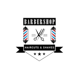 Hipster barber logo design icon with pole.