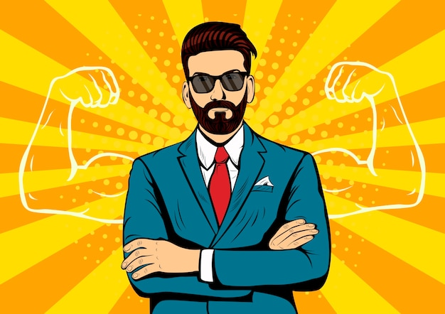 Hipster beard businessman with muscles pop art retro style.