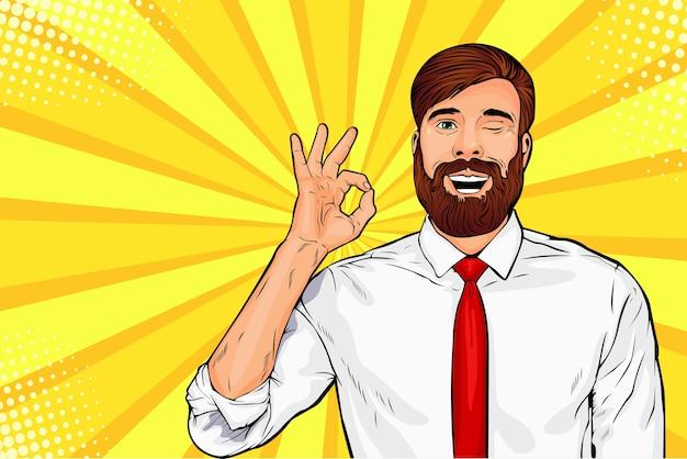 Hipster beard male businessman winks