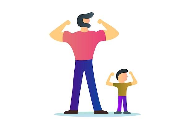 Битник бородатый сильный мужчина отец культурист фитнес, показывая мышцы бицепса с вектором солнца