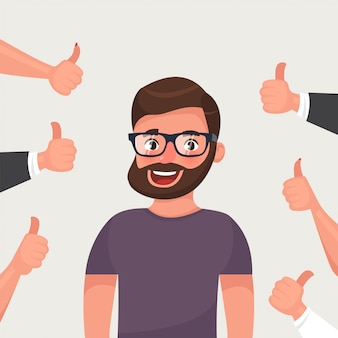 Hipster bearded young man surrounded by hands demonstrating thumbs up gesture.