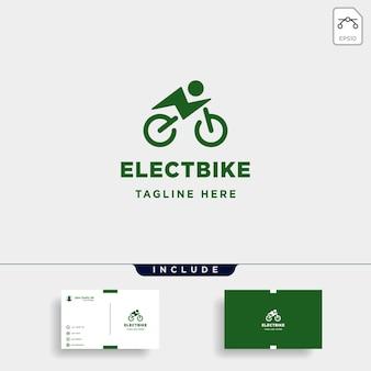Hipster 자전거 전기 로고 디자인 벡터 전원 차량 아이콘 기호 기호 절연