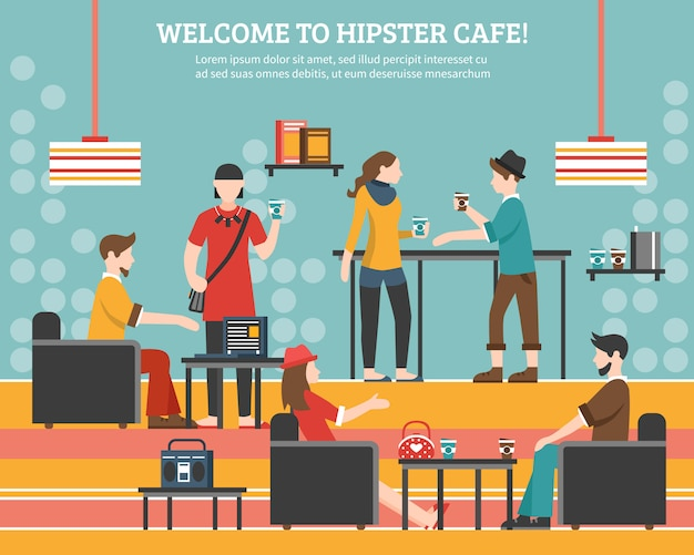 Hipster cafe flat illustration