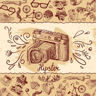 Hipster camera background