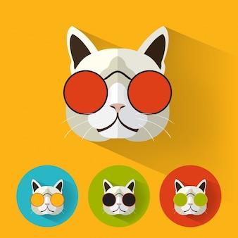 긴 그림자와 함께 hipster 고양이
