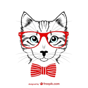 Hipster cat with red glasses