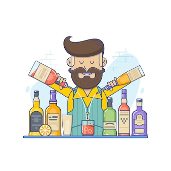 Hipster caucasian bartender with beard standing at the bar counter.