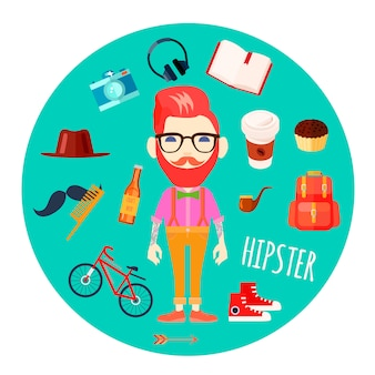 Hipster character man with red hair fake mustache and retro accessories