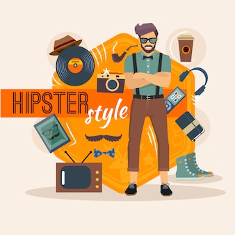 Hipster character pack for geek man with fashion accessory and objects