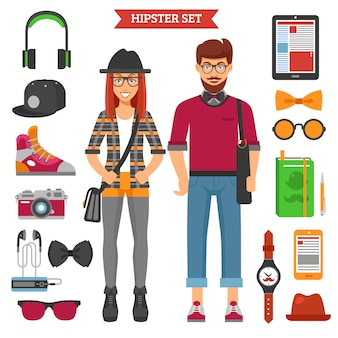 Hipster couple characters and elements set